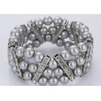 Three Strand Diamond and Grey Pearl Bracelet Costume Jewelry Wholesale