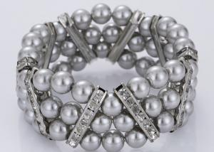 China Three Strand Diamond and Grey Pearl Bracelet Costume Jewelry Wholesale on sale