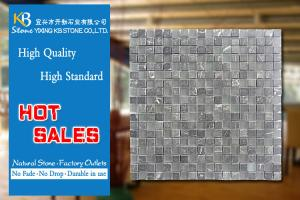 China Black white marble mosaic tiles stone mixed glass mosaic wall decoration on sale