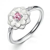 Romantic Sterling Silver Enamel Flower Ring With Pink Stone For Engagement / Holiday