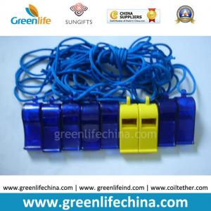 China Blue Dark ABS Material Wholesale Whistle for Promotional Usage with Strap Lanyard on sale