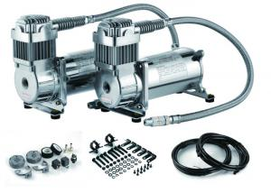 China Fast Inflation Silver Steel Dual Air Suspension Compressor  for car 4.5 CFM 150PSI on sale