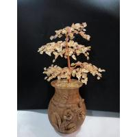 China Variegated Quartz Gemstone Wire Bonsai Tree Of Life Sculpture In Silver Rough Stone Sprayed Wood Pot on sale