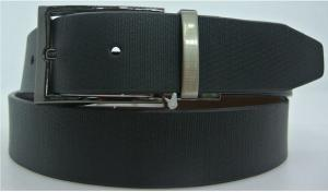 China Classic Mens Black Leather Dress Belt , Men'S Reversible Dress Belt on sale