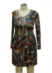 China Shining Studs Ladies Long Spring Dresses , Bodycon Long Sleeve Deep V Neck Dress on sale