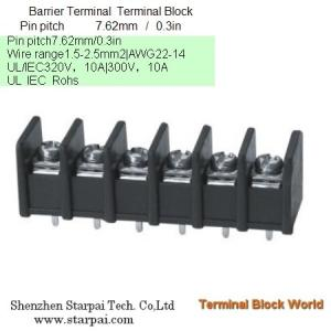 China Barrier Terminal Block High Power Automotive Terminal Block Connector/Socket pitch 7.62mm on sale
