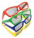 O quadrado plástico durável da criança vermelha & azul da cor da lente 3D polarizou vidros da tevê 3d