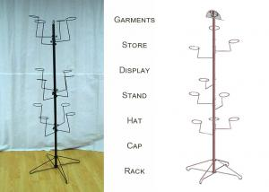 China Multiple Ball Cap Display Rack / Metal Clothing Baseball Cap Display Stand on sale