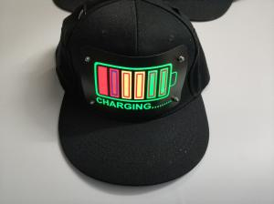 China EL Cap Custom Light Up EL Hat /Sound Activated led Cap/el flashing Cap with wireless inverter for party cotton material on sale