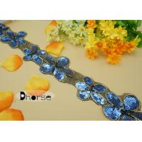 Bling Flower Shaped Blue Sequins Beaded Trims For Dresses , Decorative Beaded Trim