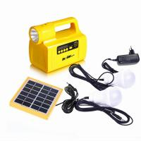 portable small solar energy solar power system with USB charger FM radio led bulb yellow/black