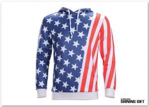 China Unisex USA American Flag Printed Long Sleeve Pockets Slim Pullover Hoodie Sweatshirt on sale