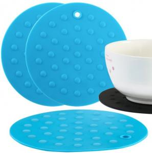 China Round Rubber Cooking Utensils , Silicone Baking Mat  Embossed Dots Style on sale