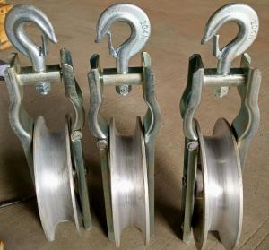 China Single Aluminum Cable Pulling Pulley SHD 20 KN Conductor Stringing Block on sale
