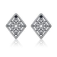 Pandora 925 Sterling Silver Earrings Geometric Lines Earring Studs Clear CZ Earrings for Women