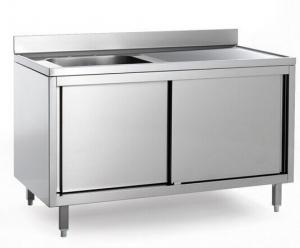 Quality Hotel Commercial Single Bowl Stainless Steel Sinks Cabinet Drainboard For