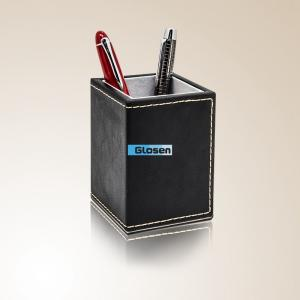 China Fashionable Brown Pretty PU Office Pen Holder Customized Logo on sale