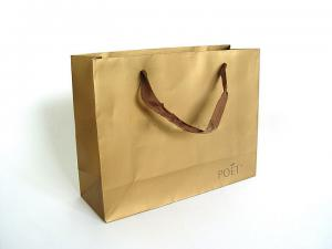 China high quality Imprinted Brown Craft  Wax Paper Carrier Bags for Shopping on sale