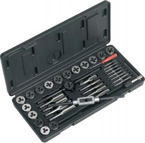 China High Carbon Steel Taps and Dies Tool Set with Tap Wrench , Die Holder , Thread Gauge on sale