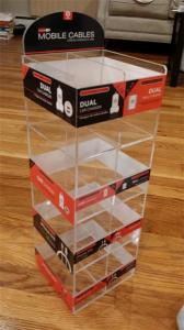 China Exquisite customized clear acrylic 5 tiers acrylic phone accessory display stand with stic on sale