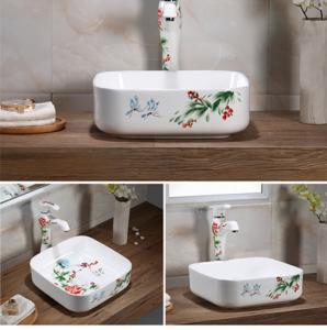China Chinese style new WC square hand paintting with competitive price unique colorful wash hand high qualitiy ceramic basin on sale