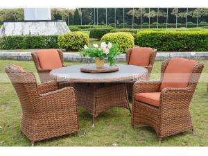 China CA1550  half round rattan 5pcs dining set with glass top supplier