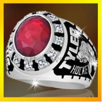 rhodium plating champion rings ,with cz set ,red stone