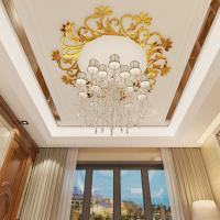 Waterproof adhesive decorative acrylic wall mirror stickersDecorative wall decals with chandelier/ ceiling lamp