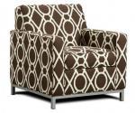 Níquel cepillado sofás de la sala de estar de la tela del marco metálico, sofá de cuero largo