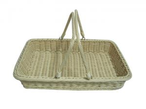 China Colored Plastic Wicker Shopping Baskets With Handles , Fruit Basket on sale