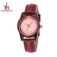 China Girls Wooden Minimalist Leather Watch 30M Water Resistant Fashion on sale