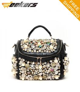 China fashion pearl buttons women PU leather single shoulder bags,leather messenger bags on sale
