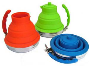 China Outdoor Sports Camping Colourful silicone folding kettle 1000 ML OEM / ODM on sale