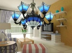 China European Mediterranean Iron Art Bar light Tiffany Pendant lights factory supplier on sale