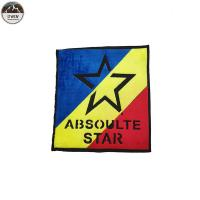 Large Star Custom Made Embroidered Patches Chenille Material Blue / Red / Yellow