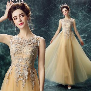 China Light Yellow Lace And Crepe Sleeveless Gorgeous Evening Dress TSJY091 on sale
