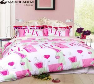China Pink Flat Sheet Sateen Modern Bed Set Cosmetics Pattern Reactive Printing on sale
