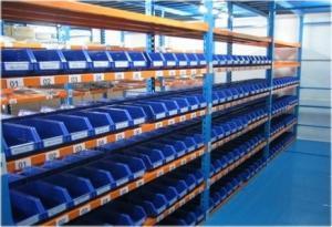 China Plastic bin shelving medium duty racking longspan shelving with plastic bins inside on sale