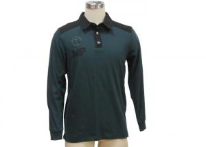 China Button Down Long Sleeve Mens Polo T Shirts Stand Up Polo Collar T Shirt on sale