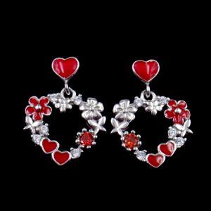 China OEM Silver Cubic Zirconia Earrings , Heart Enamel 925 Sterling Silver Earrings For Birthday Gift on sale