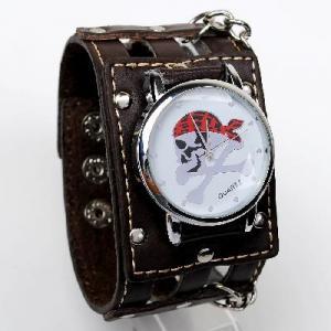 China Punk Gothic Ladies Women Men Gens Genuine Leather Wrist Watch on sale
