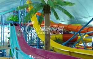 Quality Rainbow Multi Lane Racing Fiberglass Water Slides for Aqua Park Equipment 110m length for sale