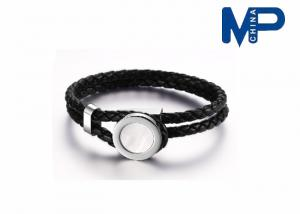 China Stainless Steel Leather Bracelet Bangle Wrist Chain Silver / Black on sale