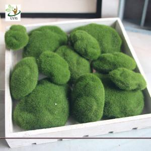 China UVG different size fuzzy artificial decorative moss balls fake rock for aquarium landscaping GRS039 on sale