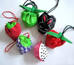 China Fruit shaped drawstring shopping bag, nylon shopping bag, folding shopping bag on sale