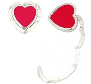 China Red Heart Shape Folding Handbag Hook on sale