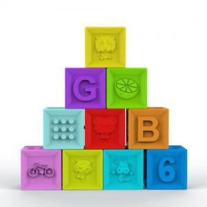China Food Grade Embossed Silicone Rubber Block , Silicone Baby Stacking Blocks on sale