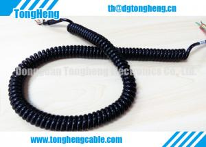 China Glossy Black PUR Jacket Customized Retractable Spring Cable High Resilience Force on sale