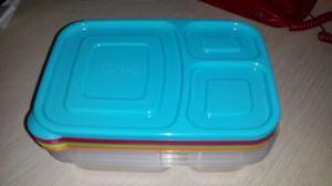 China Envases plásticos de la fiambrera de las cajas del almuerzo 3-Compartment Bento, sistema de 4, Brights on sale