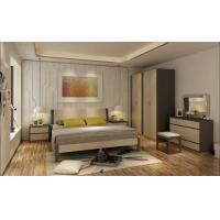 Comfortable Panel Bedroom Set Melamine Bed Wardrobe Dresser For Hotel Apartment
